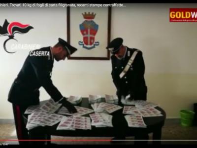 """Video. Aversa. Op. Carabinieri. Trovati 10 kg di carta filigranata, recanti stampe contraffatte di banconote di """"dinari"""" algerini"""