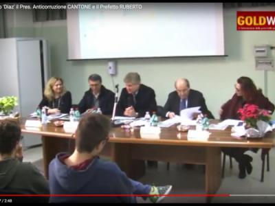 VIDEO. CE. Ospiti del Liceo 'Diaz' il Pres. Anticorruzione CANTONE e il Prefetto RUBERTO. Parlano SUPPA e PONTILLO